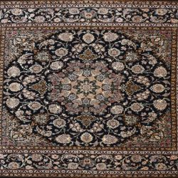"Isfahan square 6' 6"" by 6' 8"" rug with medallion pattern from Persia-Iran"