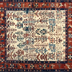 "Gabbeh square 7' 10"" by 8' 0"" rug with geometric pattern from Turkey"