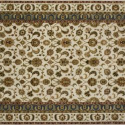 "Nain rectangular 6' 1"" by 9' 2"" rug with all-over pattern from India - Ivory , tan & gray"