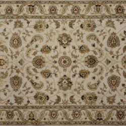 "Nain rectangular 3' 0"" by 5' 3"" rug with all-over pattern from India - Taupe & Tan"