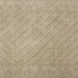 "Transitional rectangular 5' 6"" by 8' 3"" rug with all-over pattern from India - Light Brown & Light Brown"