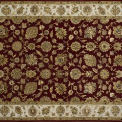 "Nain rectangular 6' 1"" by 9' 2"" rug with all-over pattern from India - Red & Taupe"