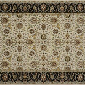 "Nain rectangular 5' 7"" by 8' 2"" rug with all-over pattern from India - Taupe & Black"