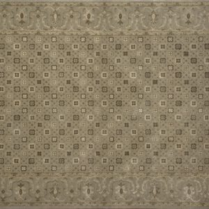 "Transitional rectangular 4' 2"" by 6' 3"" rug with all-over pattern from India - Light Brown & Brown"