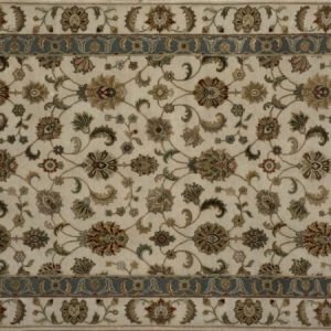 "Transitional rectangular 3' 1"" by 5' 3"" rug with all-over pattern from India - Ivory & Ivory"