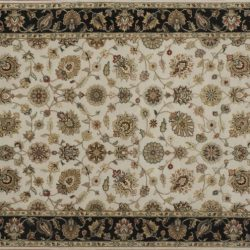 """Nain rectangular 4' 1"""" by 6' 1"""" rug with all-over pattern from India - Ivory & Black"""