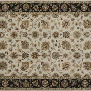 "Nain rectangular 4' 1"" by 6' 1"" rug with all-over pattern from India - Ivory & Black"